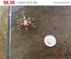 Store Closing Vintage upright spider pin brooch brown by EMTWTT