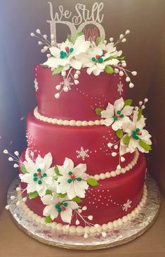 25th Wedding Anniversary Cakes, Wedding Cakes, All Flowers, Wedding Flowers, Homemade Christmas, Christmas Cakes, Blue Silver Weddings, Winter Wonderland Cake, Cake Kit