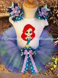 Little Mermaid Ariel TuTu Set in Ocean Jewel Tones