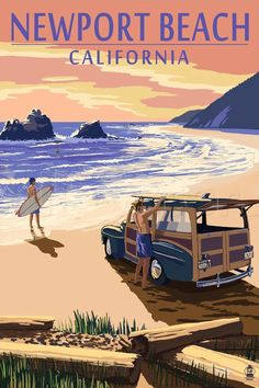 Laguna Beach, California - Woody on Beach - Lantern Press Artwork Giclee Art Print, Gallery Framed, Espresso Wood), Multi Old Poster, Retro Poster, Poster Wall, Surf Mar, Cannon Beach Oregon, Photo Vintage, Vintage Surf, Vintage Mermaid, Long Beach Island