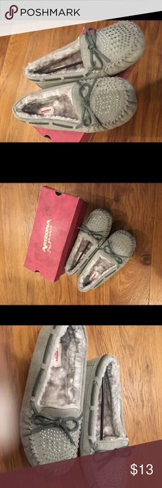 Brand new in the box gray blingy moccasins! Arizona brand new size 7 moccasins Shoes Moccasins