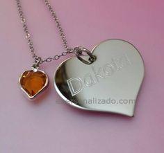Placa de acero en forma de corazón modelo Dakota grabado El corazón mide 2 5 cms de alto Se pueden grabar iniciales nombres o fechas Totalmente