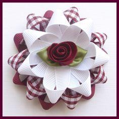Burgundy Gingham Ribbon Flower-gingham, grosgrain, ribbon, flower, rose, satin, school, uniform, clip, barrette, bobble, hairbow, hair bow, uk, scotland,