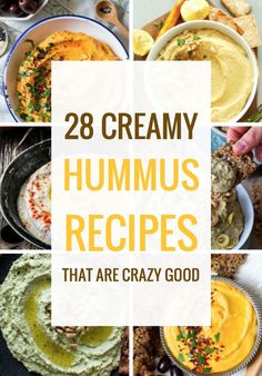 28 Creamy Hummus Recipes That Are Crazy Good One of my favorite appetizers ever is hummus – and in my opinion, really good hummus has to be creamy, full of taste and so delicious that you can lick it strai Vegetarian Recipes, Cooking Recipes, Healthy Recipes, Vegetable Recipes, Creamy Hummus Recipe, Hummus Flavors, Green Olive Hummus Recipe, Humas Recipe, Chickpeas