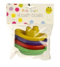 £0.99 - First Steps 4 Bath Boats   Perfectly sized for little hands. What more could little ones want from a bath toy Line them up like a train in the tub. These four brightly coloured boats made of soft plastic make bath and water play time lots of fun.