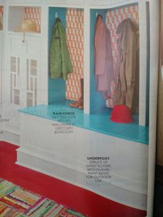 """""""Spruce up dingy floors with enamel paint rated for outdoor use."""" This red in a mudroom is pretty awesome. It's """"Safety Red"""" all surface enamel by Sherwin-Williams"""