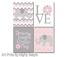 Pink Gray Nursery DecorBaby Girl Nursery Wall by HollyPopDesigns