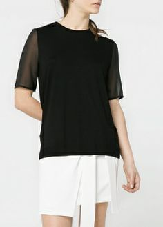 Knit t-shirt with contrast chiffon short sleeves. Complete Outfits, Mango, Chiffon, Short Sleeves, Tunic Tops, Texture, Womens Fashion, Skirts, T Shirt