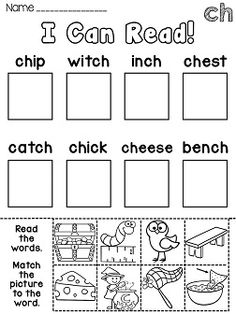 CH sound printables - a lot of great digraphs word work at this link