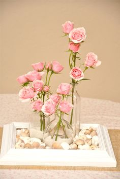 frame centerpiece with baby pink roses and shells - for the beach baby girl
