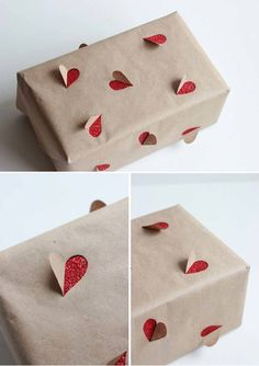 9.) Add a glitter accent to brown paper with a pair of scissors.