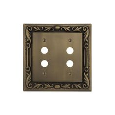 Floral Design Solid Brass Double Push Button Plate - Antique Brass