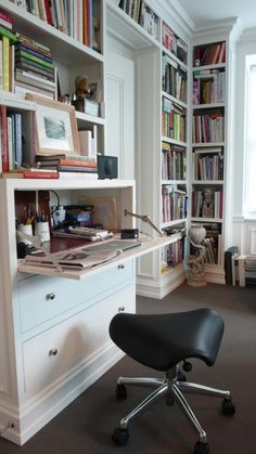 Integrated Hidden Desk Design Ideas, Pictures, Remodel, and Decor Desk Shelves, Bookshelves Built In, Built In Desk, Bookcases, Shelving, Desks For Small Spaces, Small Space Office, Small Workspace, Drop Down Desk
