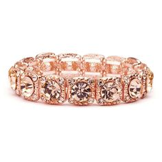 Bridal or Prom Stretch Bracelet with Crystals in 4 Finishes