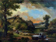 "Car Wreck by Banksy. Having first appeared in Banksy's seminal 2009 show at his hometown Bristol's city museum, ""Car Wreck 'soon became a fan favorite. Banksy Work, Art Banksy, Graffiti Art, Bansky, Graffiti Tattoo, Street Graffiti, Banksy Canvas Prints, Bristol Museum, Modern Canvas Art"