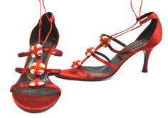 ESCADA Vero Cuoio Satin Strap Stiletto Sandal Heels. Made in Italy - Sz 39 $550