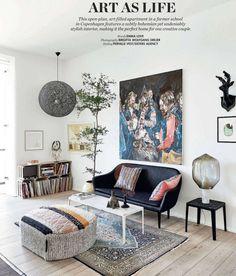 love the black pendant lamp copenhagen makeover / elle decor UK House Design, Home Living Room, Elle Decor Uk, Room Inspiration, House Interior, Elle Decor, Living Room Inspiration, Interior Design, Home And Living