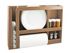 Un porte-plat SeaTeak / coupe / épices / serviette est de stocker des assiettes, un rouleau de papier essuie, des épices et des tasses.