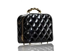 Chanel Vintage Black Quilted Patent Leather Camera Bag