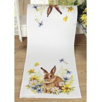 Rabbit and Flowers Table Runner