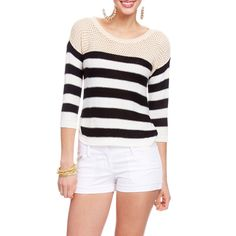Mesh Inset Striped Sweater ($30) ❤ liked on Polyvore
