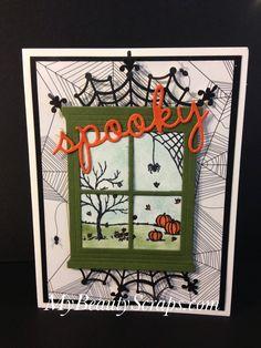Halloween Paper Crafts, Halloween Cards, Fall Halloween, Halloween Prints, Halloween Ideas, Fall Cards, Holiday Cards, Halloween Scrapbook, Window Cards