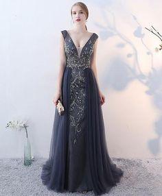 Gray v neck tulle beads sequin long prom dress f70b60e359b5