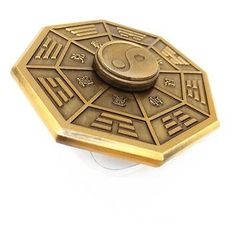 Ancient-Spinner-Shield-Ying-and-Yang-Fidget-Toy-Brass-Desert-Storm-EDC-Rare-Gift