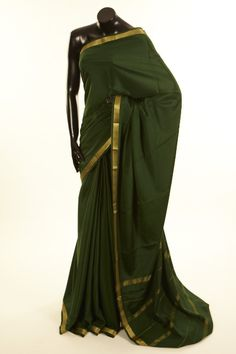 Mysore Crepe- crepe dark bottle green saree with blouse