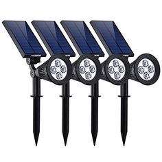 VicTsing 4 Pack Solar Waterproof Adjustable 4 LED Wall / Landscape Solar Lights with Automatic On/Off Sensor for Driveway, Yard, Lawn, Pathway, Garden Solar Pathway Lights, Solar Spot Lights, Path Lights, Outdoor Wall Lighting, Landscape Lighting, Solar Led Spotlight, Garden Spotlights, Luz Solar, Outdoor Landscaping