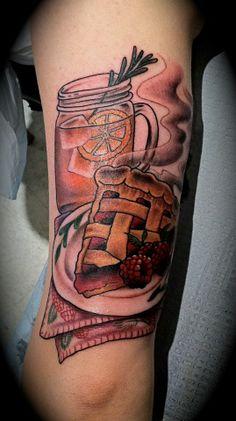 Steve at Providence Tattooo. Pie, sweet tea, mason jar