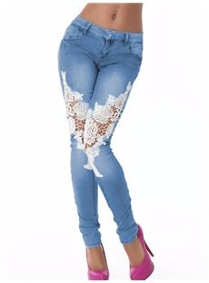 Button Lace Pencil Pants European Zipper Hollow Summer Denim Jeans