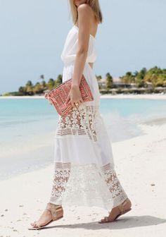maxi robe crochet floral sans bretelle -blanc