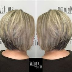 Layered Stacked Ash Blonde Bob Darker at the Nape Images Of Short Haircuts, Bob Hairstyles For Fine Hair, Hairstyles Over 50, Short Hairstyles For Women, Hairstyles Haircuts, Cool Hairstyles, Gorgeous Hairstyles, Bob Haircuts, Blonde Hairstyles