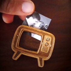 Vectorcloud Wood TV Brooch | from Apartment 528, $23.00