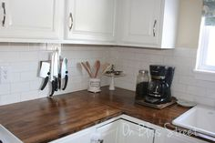 3 Kitchens, 3 Low-Cost DIY Wood Countertops  www.SueKrider.com