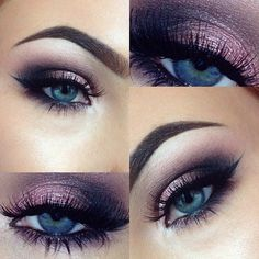 Beautiful purple smokey eye make up - using the Urban Decay Naked 3 Palette - the colours are strange,limit, nooner,buzz,dust and blackout! Eyeliner is Illamasqua & Brows are Anastasia Beverly Hills Dipbrow in dark brown. Purple Eye Makeup, Skin Makeup, Eyeshadow Makeup, Eyeshadow For Blue Eyes, Makeup Looks Blue Eyes, Makeup Brushes, Dramatic Eye Makeup For Blue Eyes, Makeup Tutorial Blue Eyes, Makeup Remover