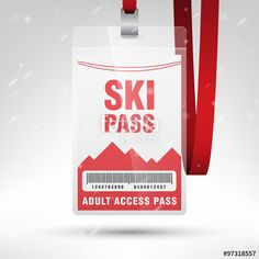 Vector: Ski pass vector illustration. Blank ski pass template with barcode in plastic holder with red lanyard. Vertical layout.