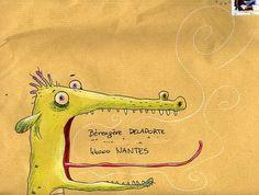 ¤ Mail art envelope by Loic Mehee Envelope Lettering, Envelope Art, Envelope Design, Hand Lettering, Lettering Tutorial, Lettering Styles, Mail Art Envelopes, Addressing Envelopes, Letter Writing