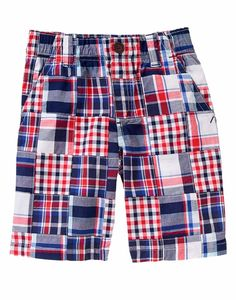 Gymboree Boys Size 10 Pull-On True Red Plaid Patchwork Shorts NWT $30 #Gymboree #Everyday