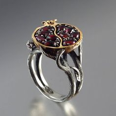 POMEGRANATE garnet bronze and silver ring di WingedLion su Etsy