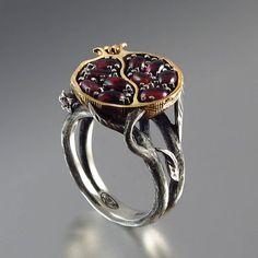 Natalia Moroz & Sergey Zhiboedov- Pomegranate garnet bronze and silver ring http://szjewelrydesign.com/home.html