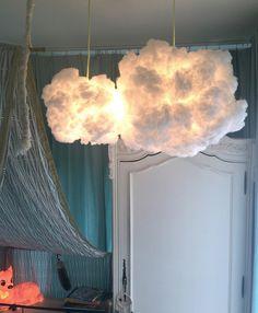 Cloud Light, cloudlight cloudlamp nursery lamp, cloud lighting ~ cloud art - All For Decoration Cloud Light Shade, Cloud Lights, Lamp Light, Hanging Clouds, Hanging Lights, Cloud Bedroom, Rose Bedroom, Diy Luz, Cloud Lamp