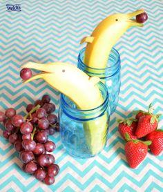 Banana dolphins! Fun food ideas, fruit fun, food art, fruit snacks.