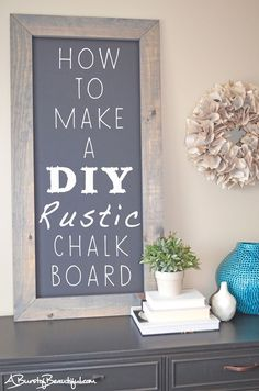 10 Beautiful DIY Home Decor Projects to Make: Rustic Chalkboard Diy Home Decor Projects, Craft Projects, Wood Projects, Craft Ideas, Diy Ideas, New Crafts, Diy And Crafts, Chalkboard Paint, Chalkboard Ideas