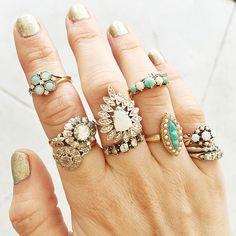 vintage rings stacks at ESQUELETO los angeles via Gem Gossip