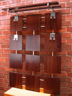 So very beautiful!...60s Rosewood WARDROBE Coat & Hat Rack Coatrack Wall Hanging MID CENTURY Vintage