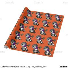 Cute Witchy #Penguin with Halloween  Wrapping Paper #WrappingPaper #HalloweenPaper #Gravityx9 #Zazzle #fallseasonsbest