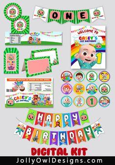 Baby Boy 1st Birthday Party, 2nd Birthday Party Themes, 1st Birthday Decorations, Happy Birthday Banners, First Birthday Parties, First Birthdays, Frozen Birthday, Kairo, Food Label
