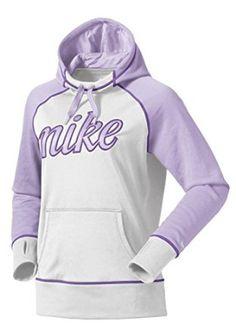 Nike Womens Script All Time Fleece Hoodie White/Lavender  Nike